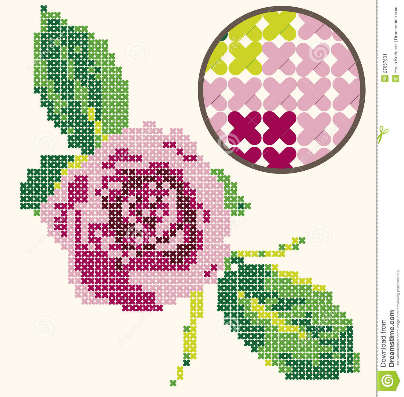 Cross Stitch Rose Embroidery Stock Image