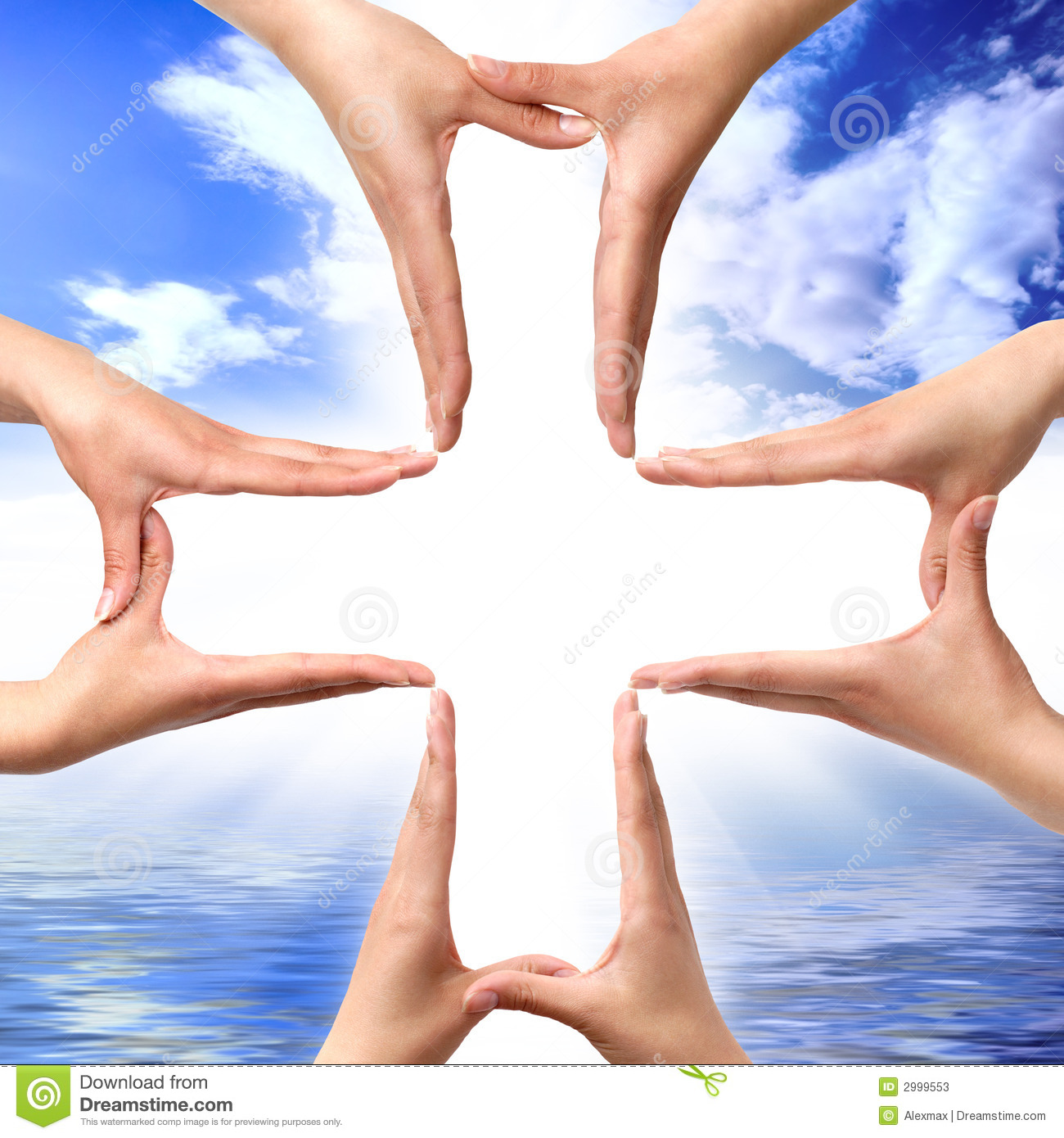 Conceptual cross symbol made from hands over blue seascape background.