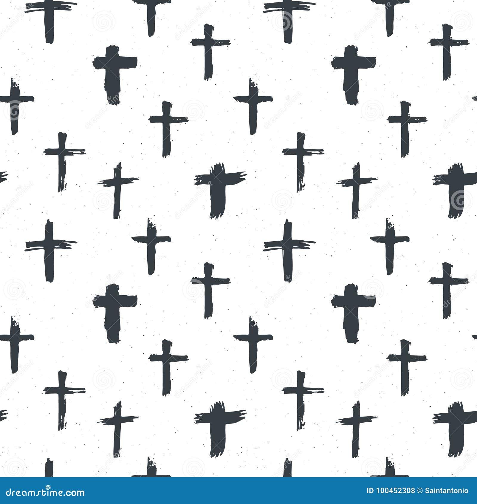 Cross Symbols Seamless Pattern Grunge Hand Drawn Christian Crosses