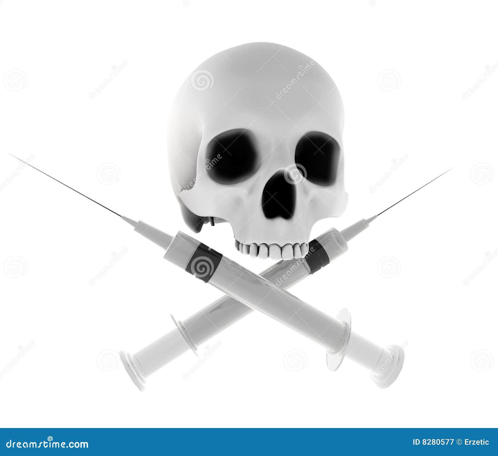 Cross Syringes Skull Royalty Free Stock Photography