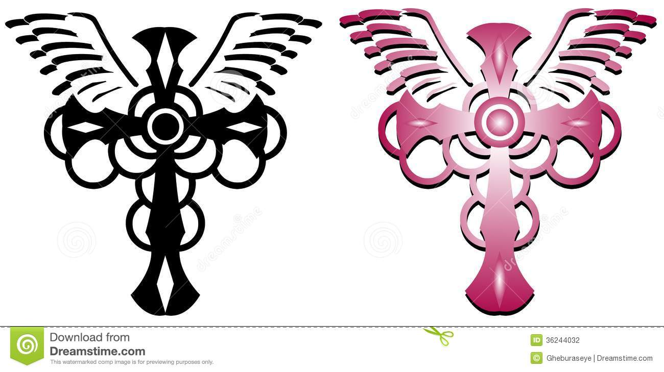 set of winged cross tattoo isolated stock photography image 36244032. Black Bedroom Furniture Sets. Home Design Ideas