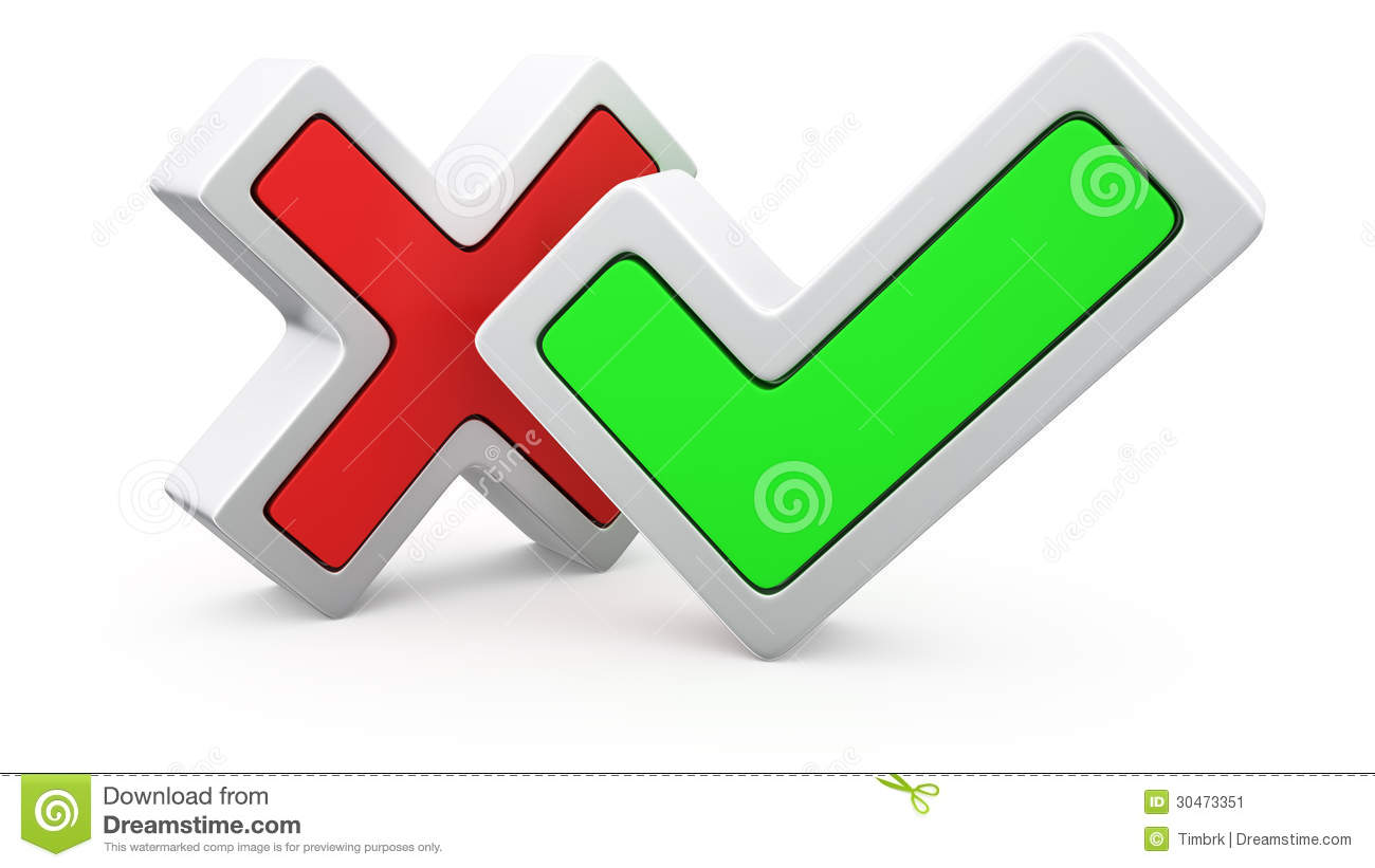 Cross And Tick Stock Image - Image: 30473351