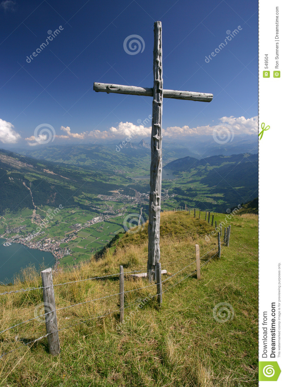 Cross On Top Of Mountain Stock Images Image 549504