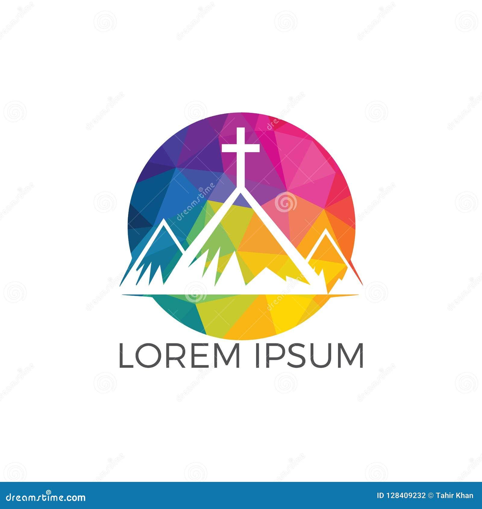 Baptist cross in mountain logo design.