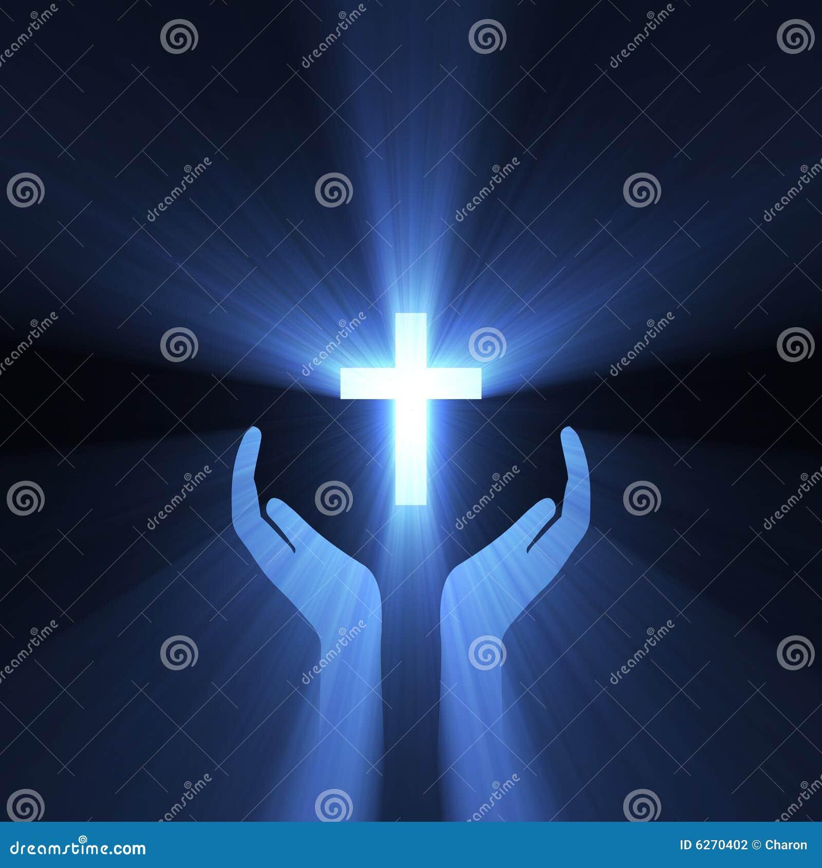 Cross uścisku ręki boga błyski światła