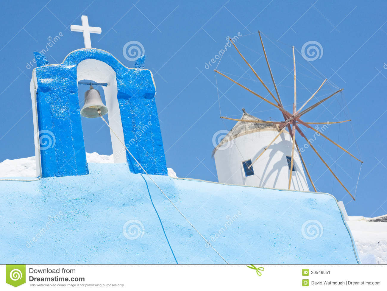 Cross and Windmill in Greece.