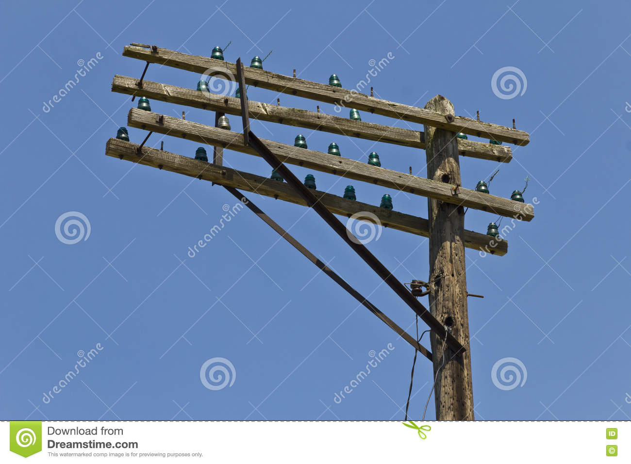 Crossarms of a former at t or bell system telephone pole for Glass telephone pole insulators
