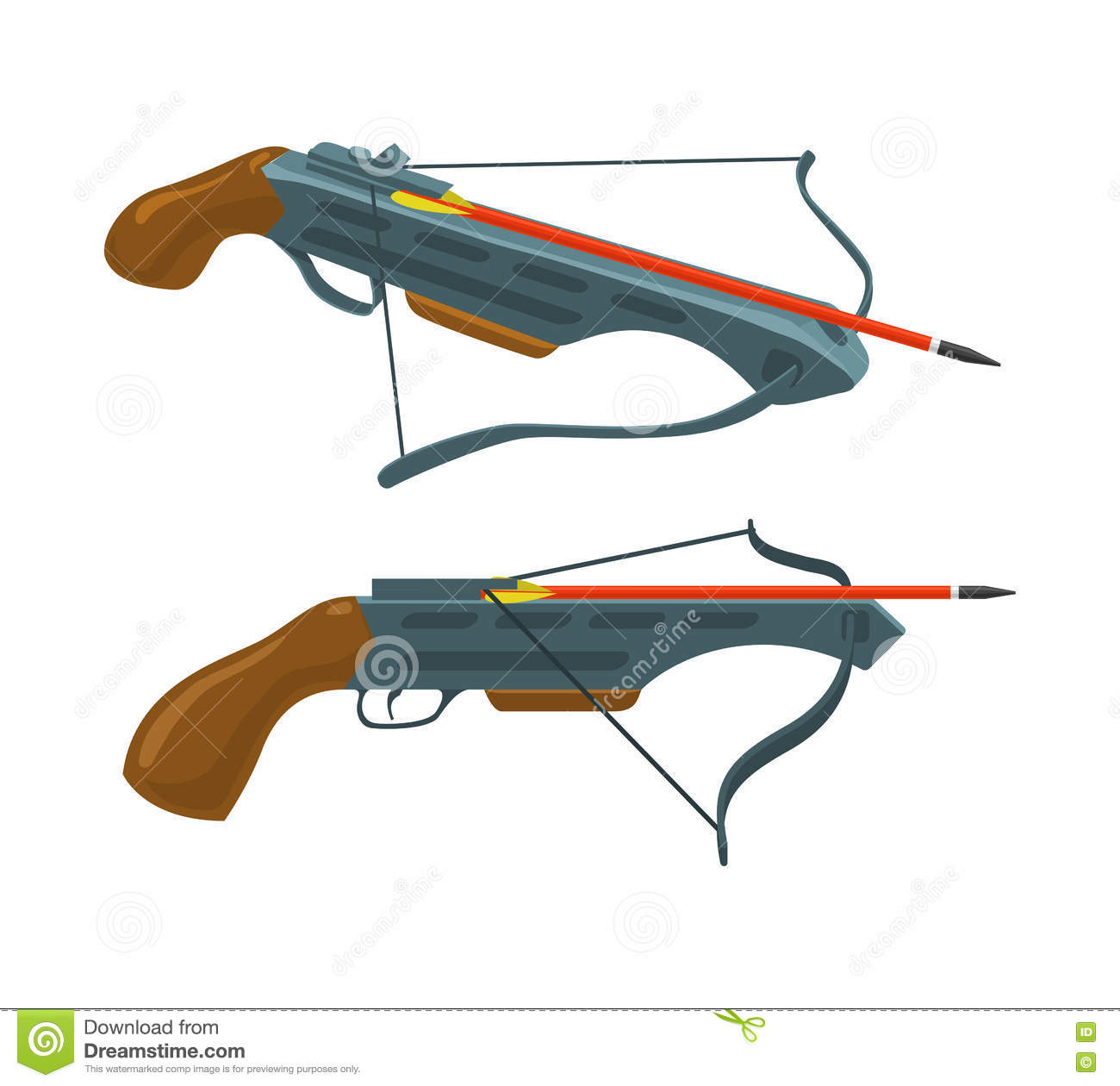 Crossbow With Arrow  Weapon And Archery  Vector Flat Icon  Stock