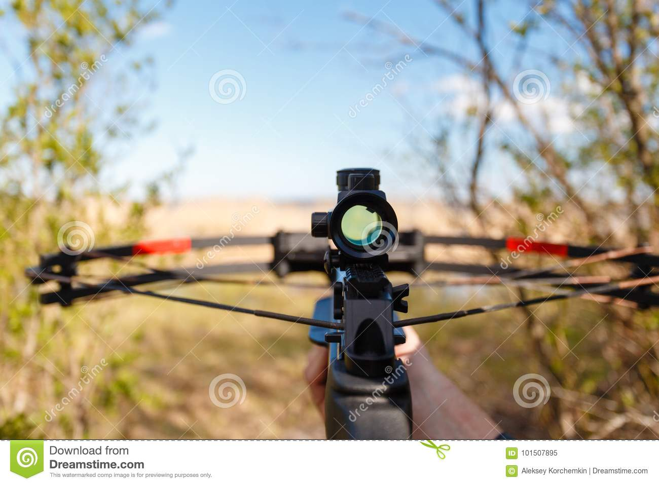 A crossbow with a sight to aim in first person
