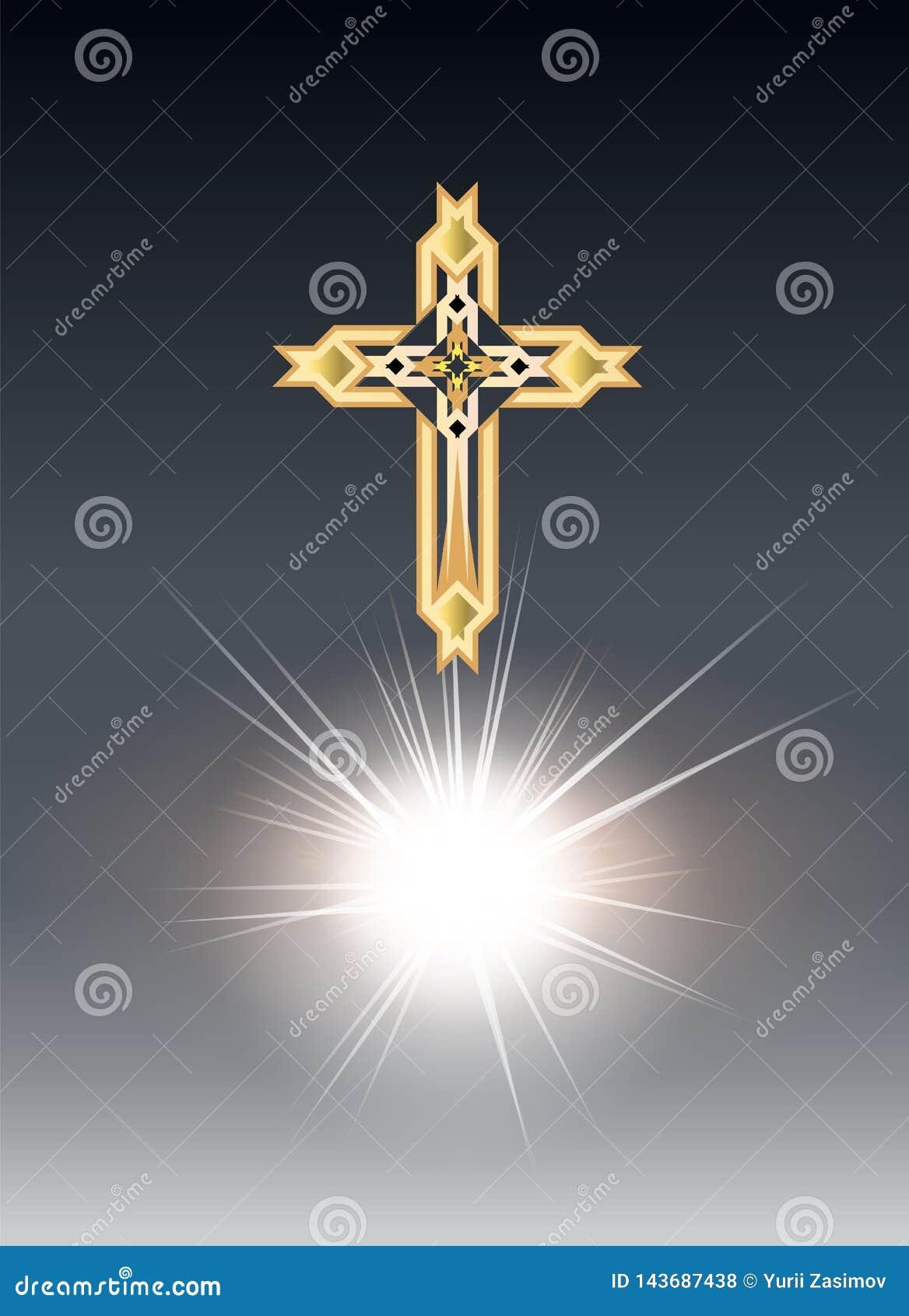 Crosse золота Religioush с предпосылкой лучей солнца прозрачной