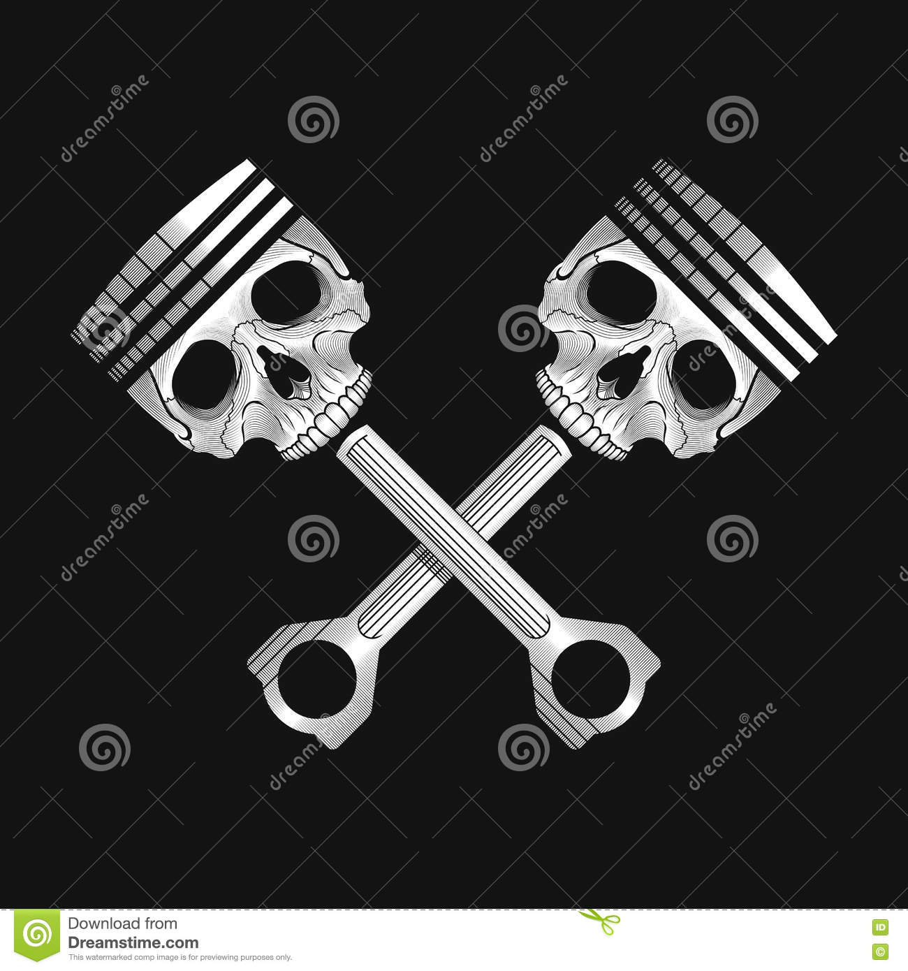 Crossed Car Engine Pistons With Skulls Royalty Free Vector