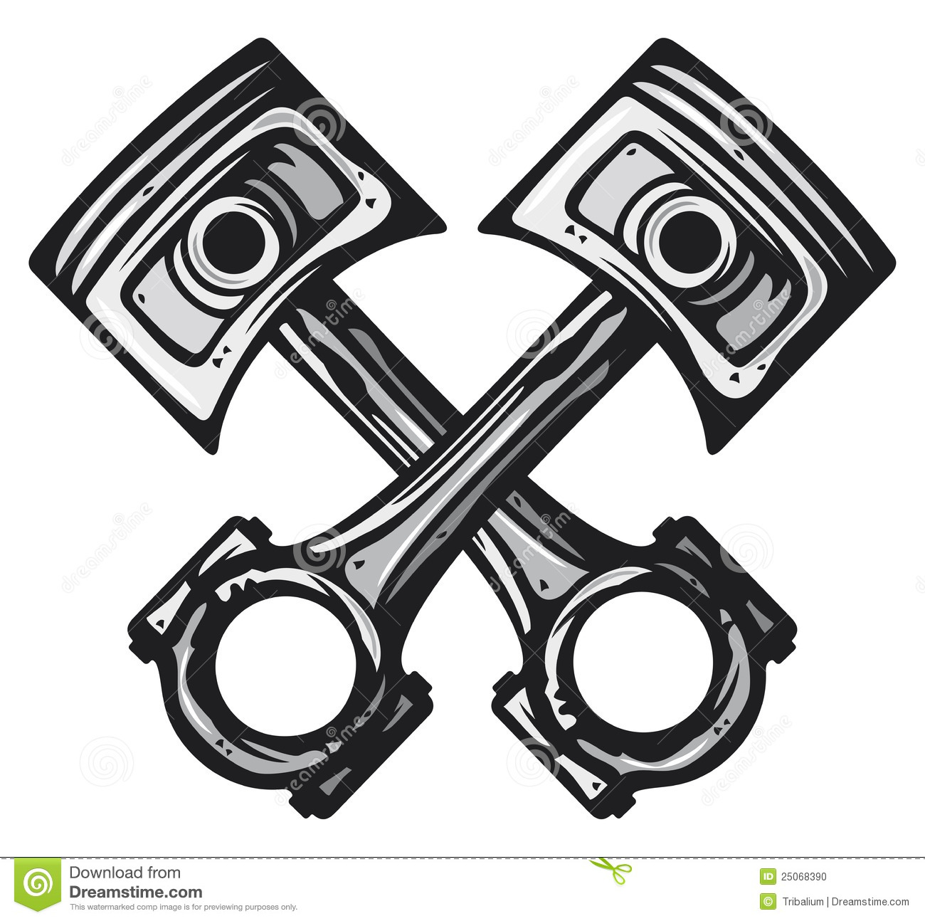 crossed engine pistons stock vector  illustration of