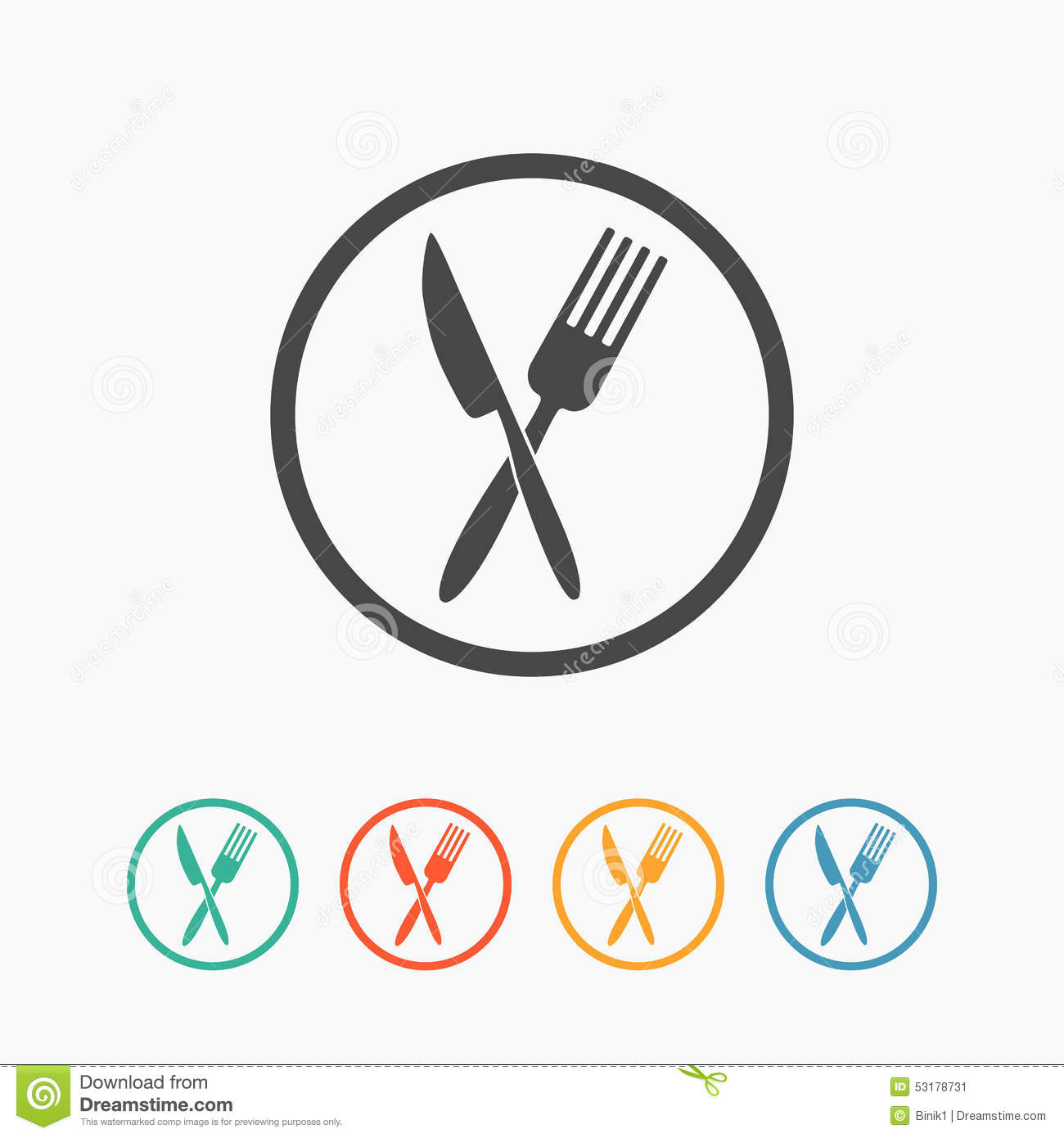 Crossed Fork And Knife Icon Stock Vector Image 53178731