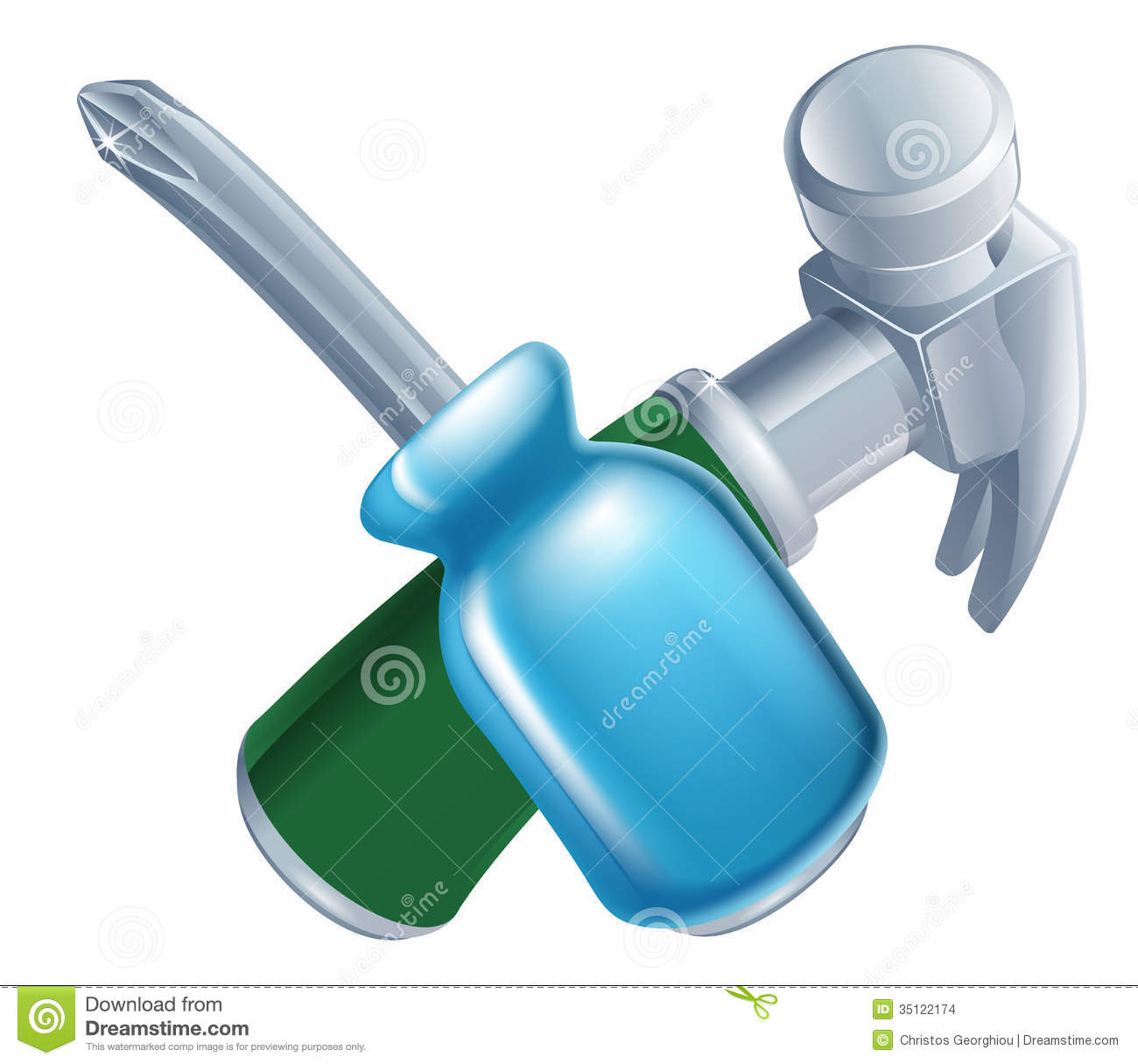 Crossed Hammer And Screwdriver Tools Stock Images Image