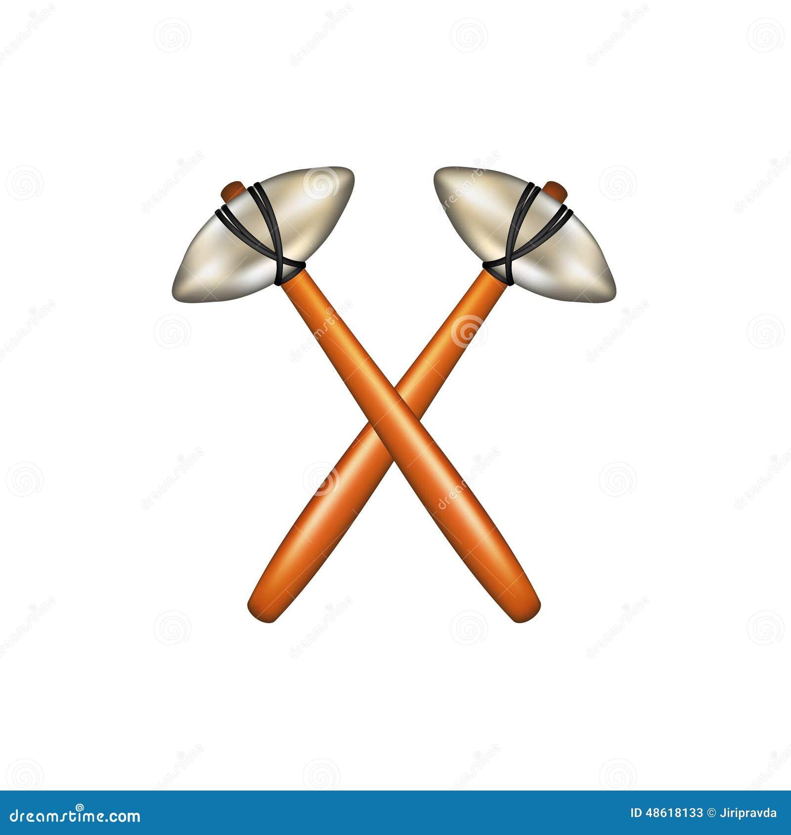 Crossed Hammers Of Prehistoric Man Stock Vector Illustration Of