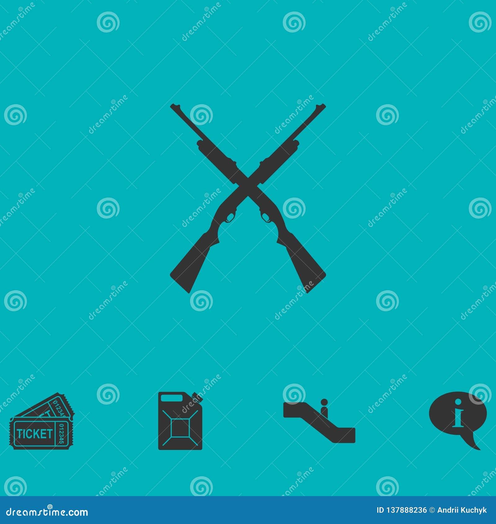 Crossed shotguns, hunting rifles icon flat
