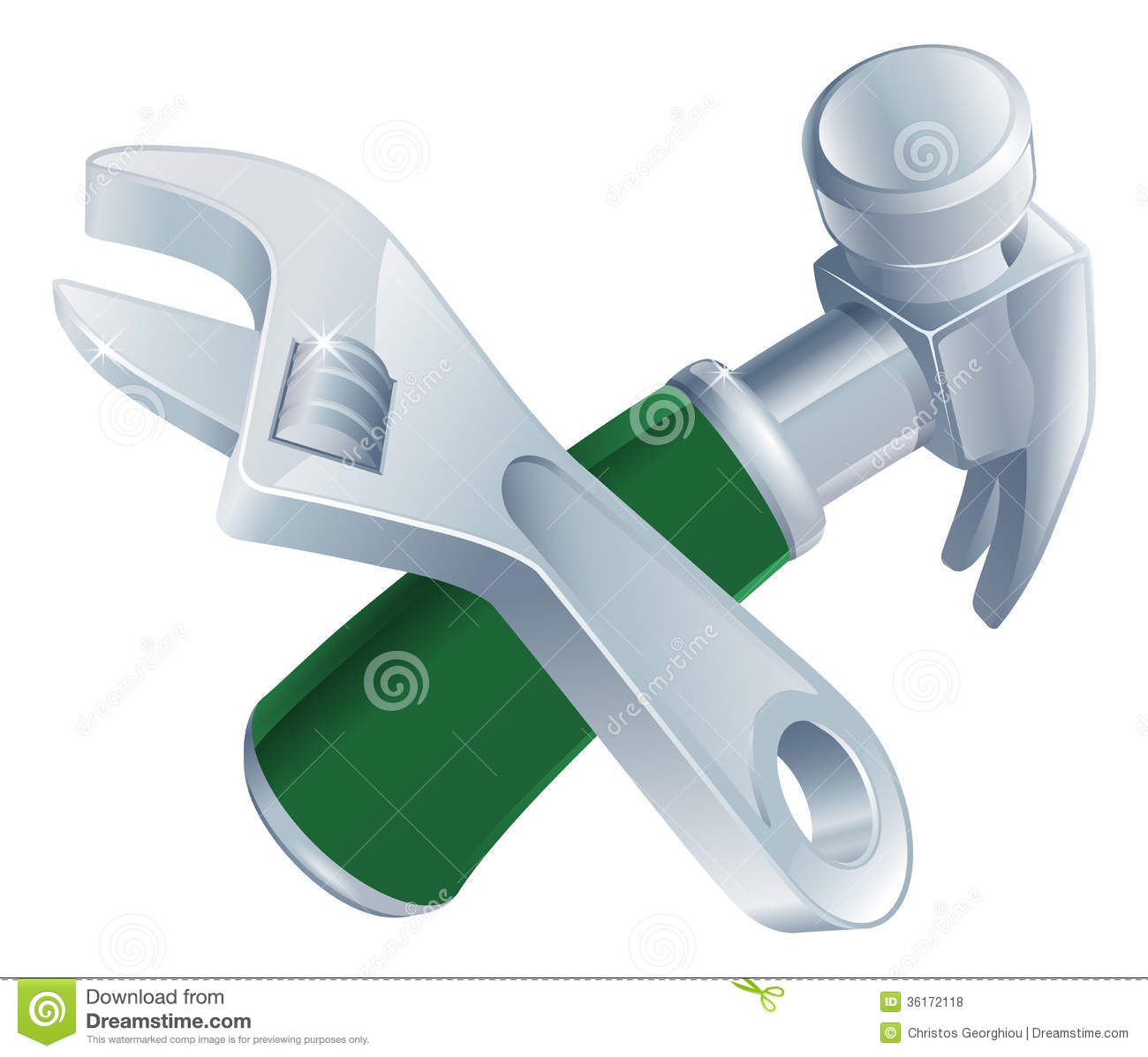 Crossed Spanner And Hammer Tools Stock Vector