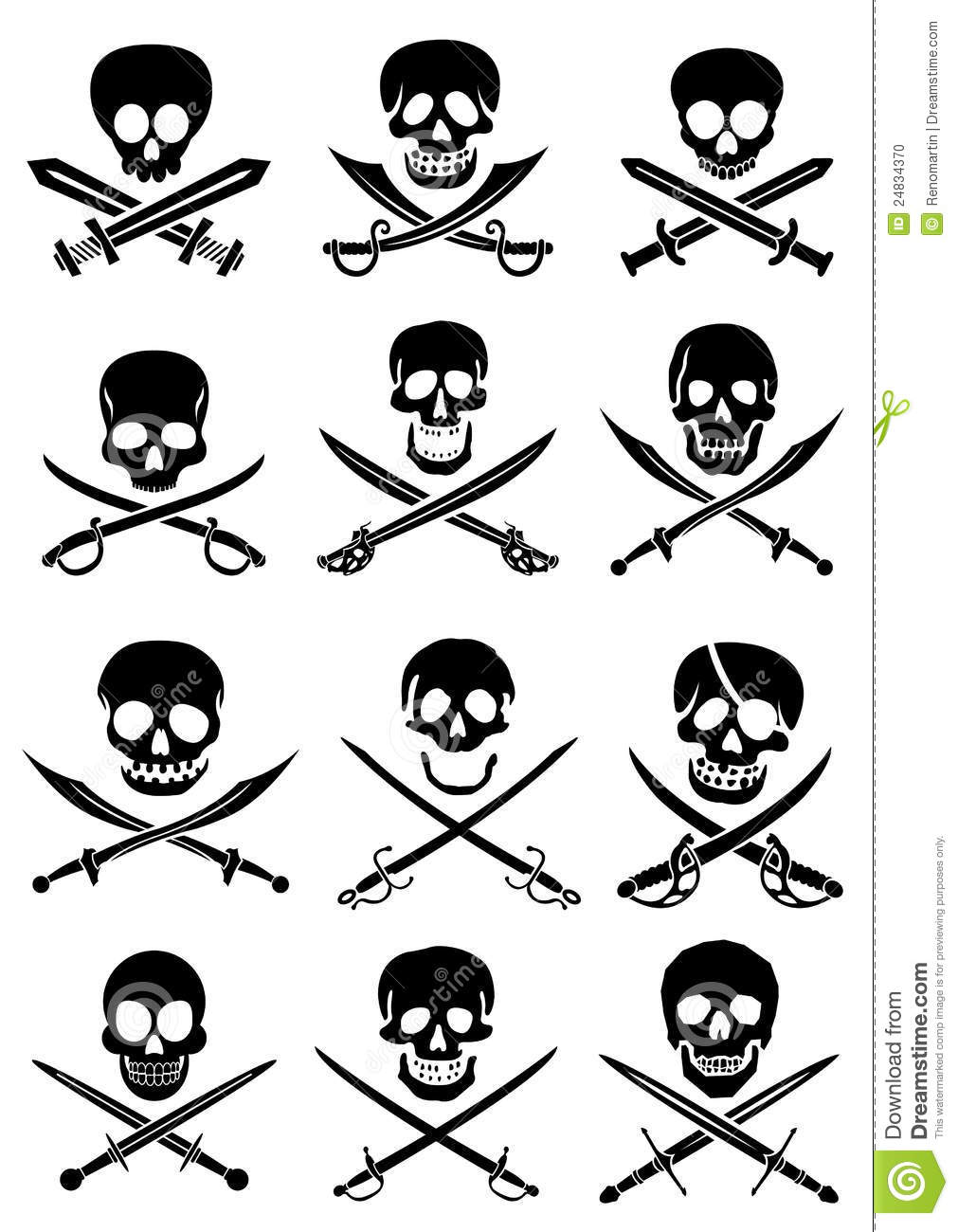Crossed Swords With Skulls Vector Collection In Wh Stock Photo - Image ...