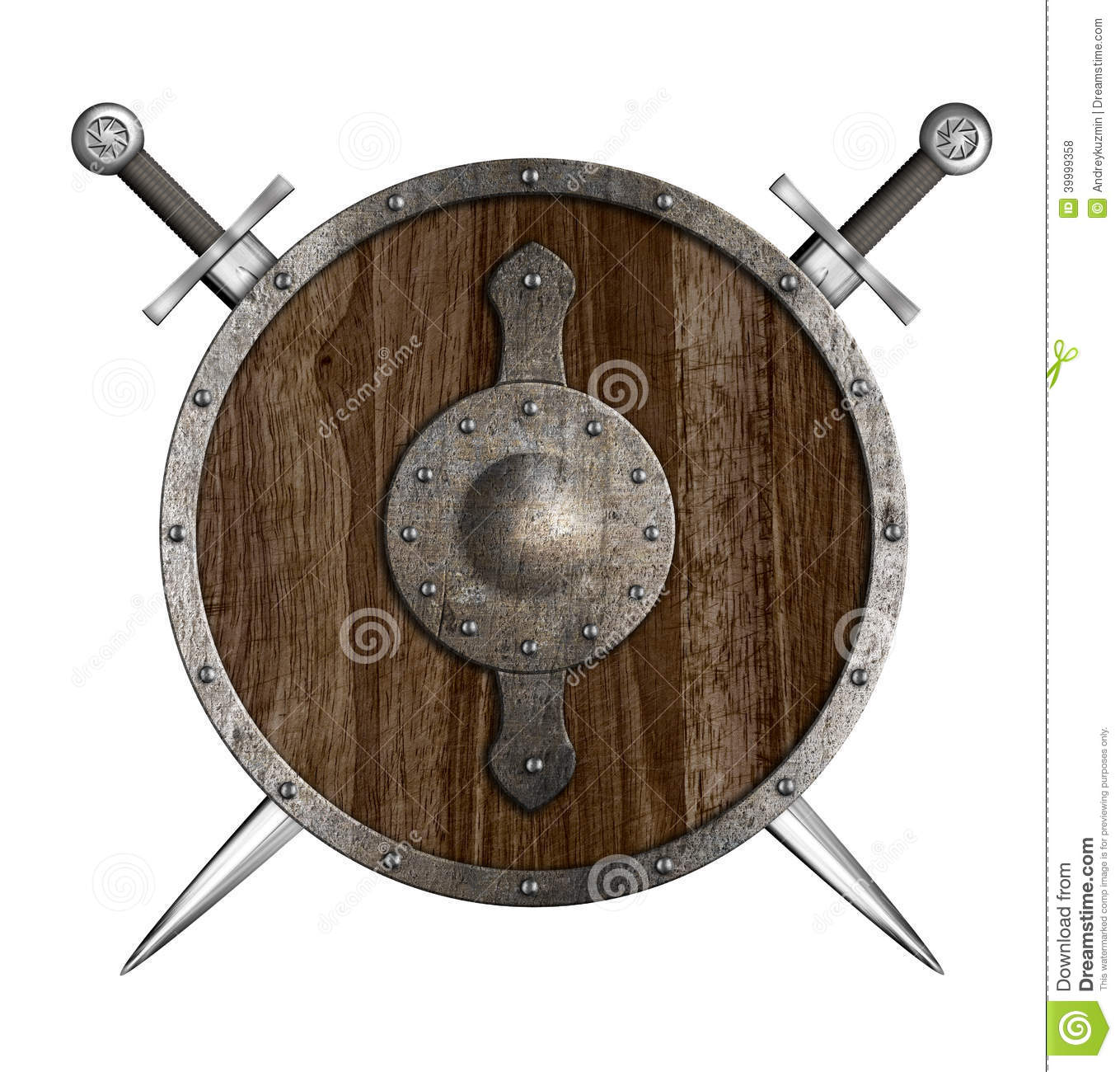 Crossed Swords And Wooden Round Shield Coat Of Arms Stock ...