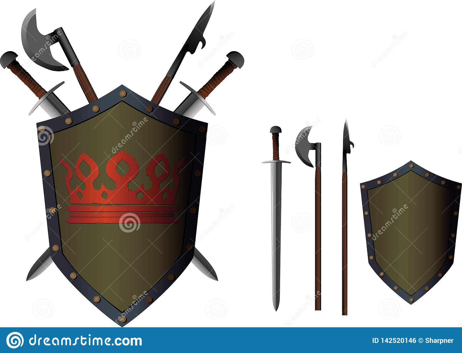 Crossed weapon shield stock vector  Illustration of icon - 142520146