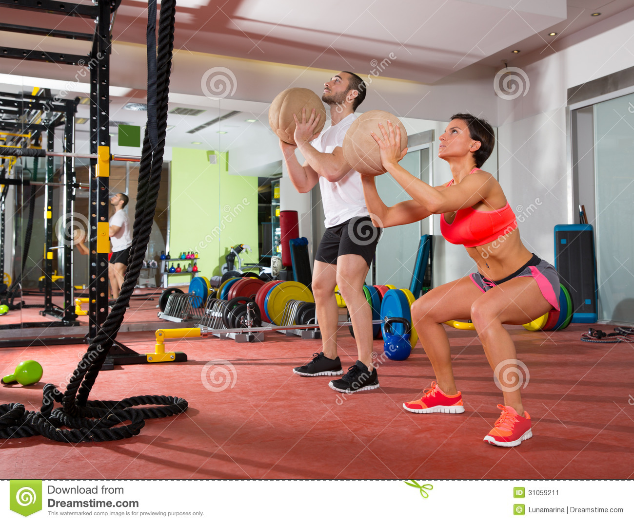 Crossfit Ball Fitness Workout Group Woman And Man Stock Image - Image ...