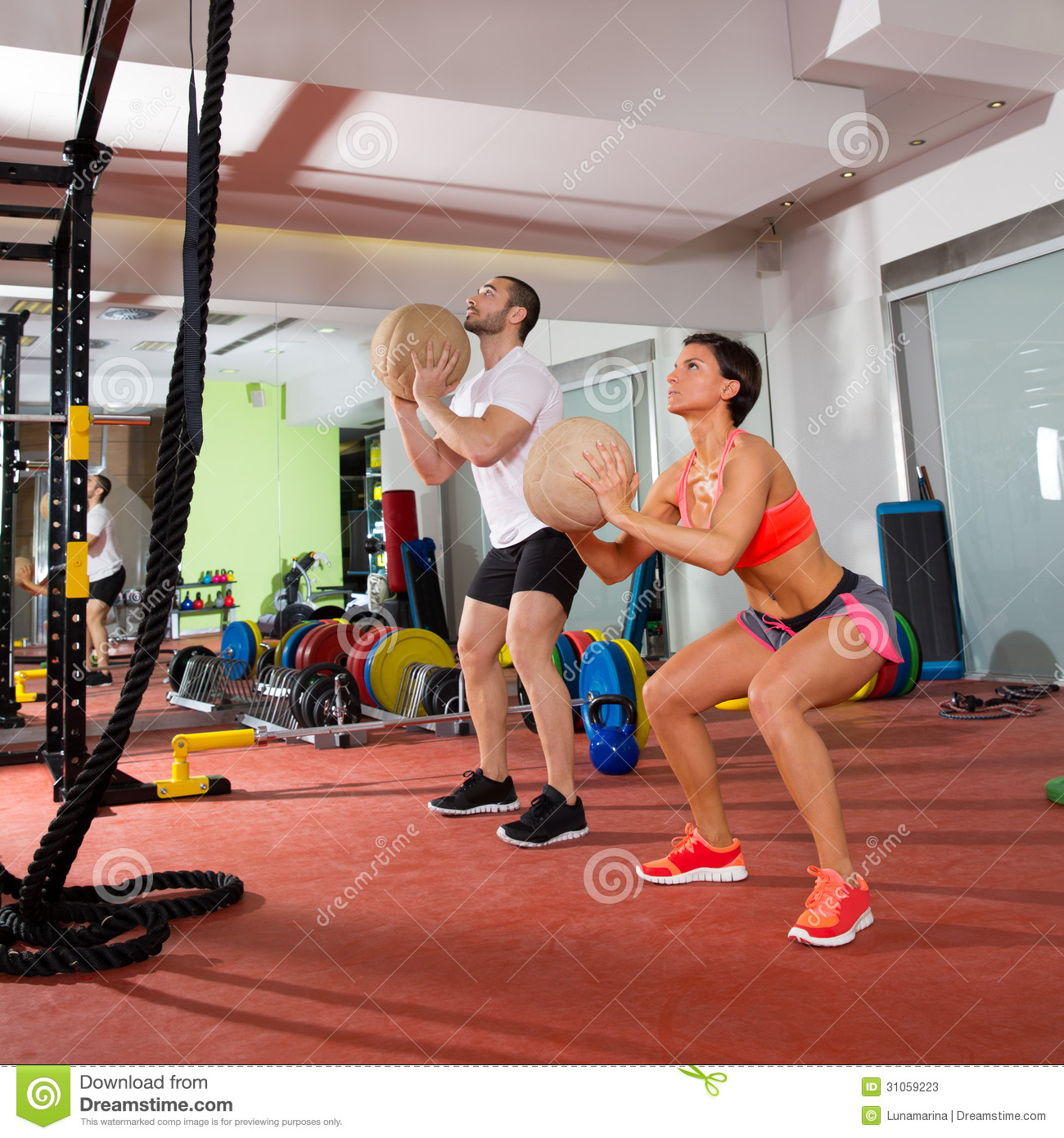 Women S Crossfit Workouts: Crossfit Ball Fitness Workout Group Woman And Man Stock