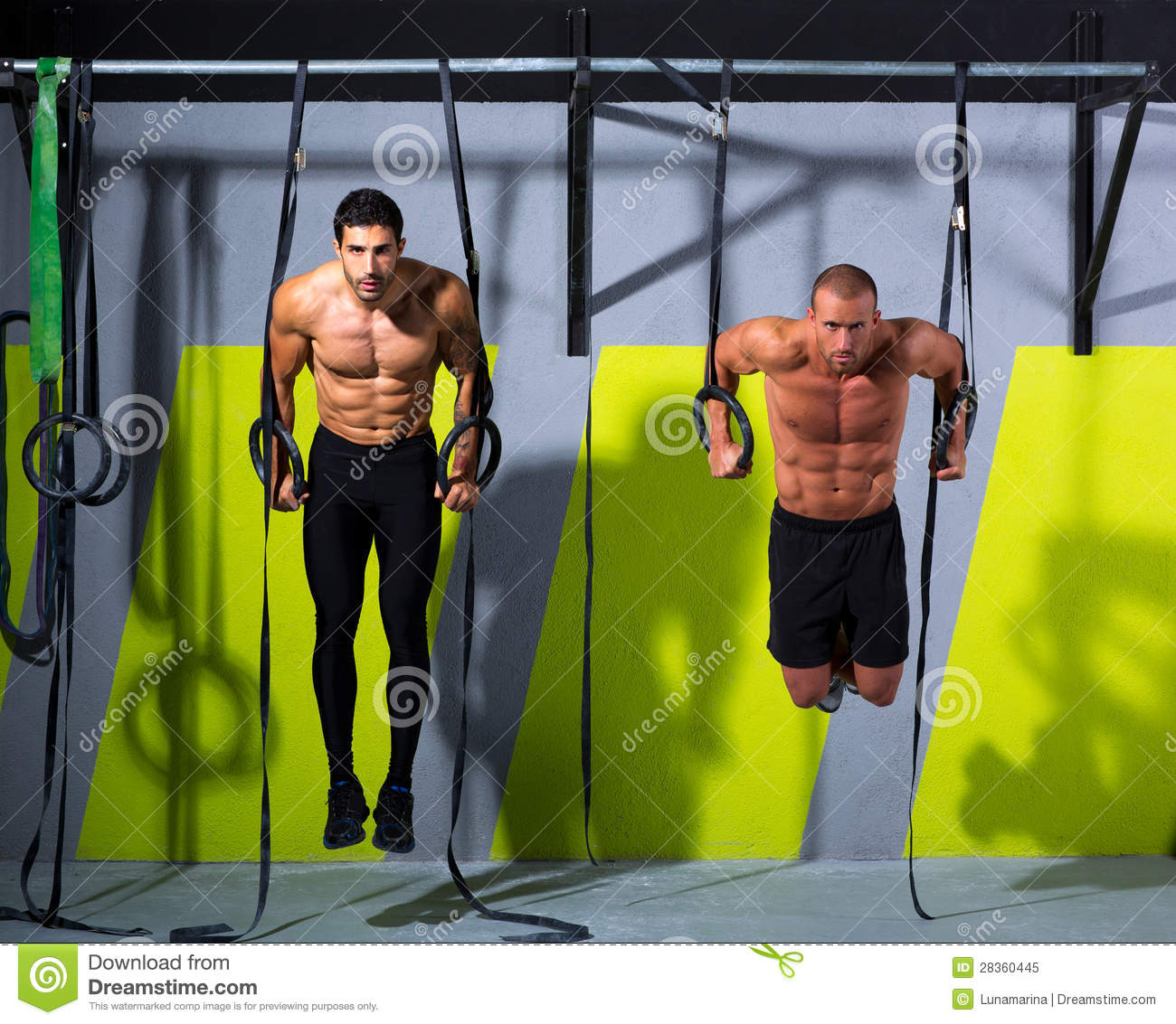 Workout Photography: Crossfit Dip Ring Two Men Workout At Gym Royalty Free