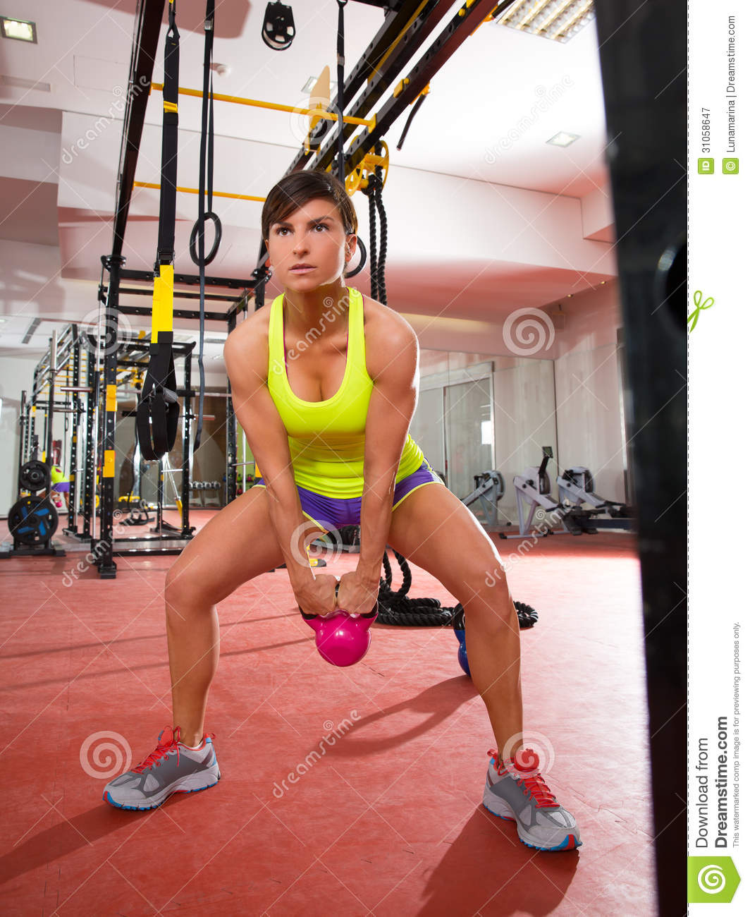 Workout Photography: Crossfit Fitness Kettlebells Swing Exercise Workout At Gym