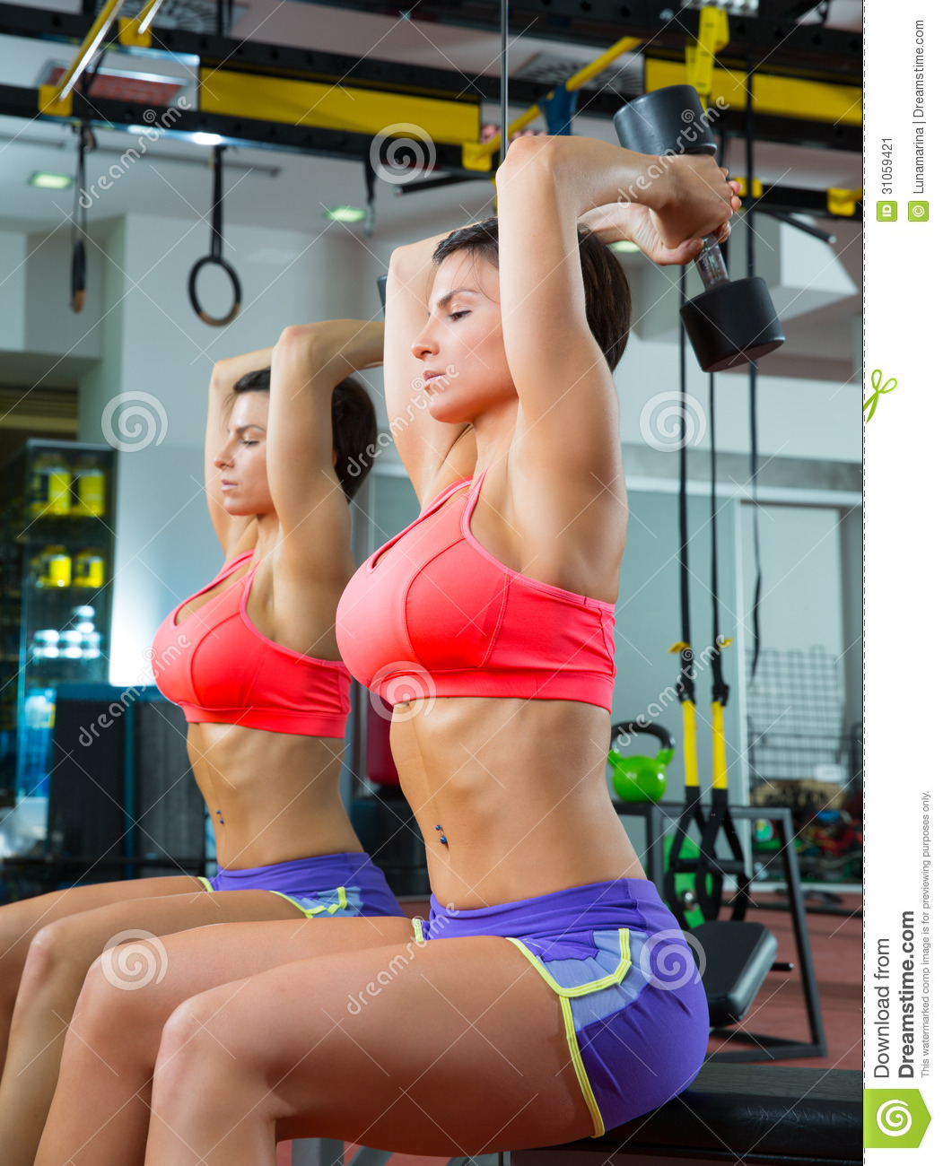 Crossfit Fitness Weight Lifting Dumbbell Woman At Mirror ...