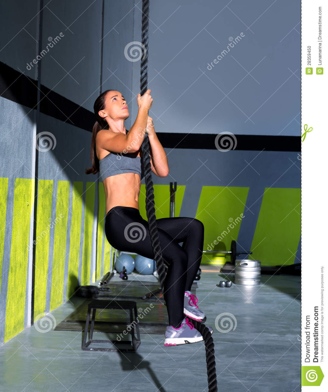 Crossfit Gloves For Rope Climbing: Crossfit Rope Climb Exercise In Fitness Gym Stock Photo