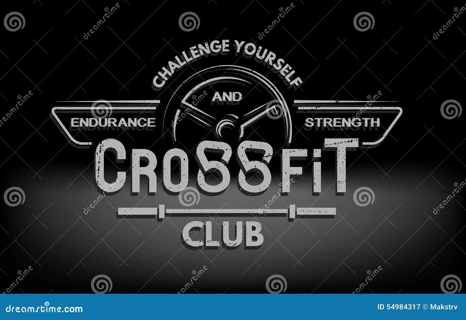 crossfit emblem with original lettering and motivating
