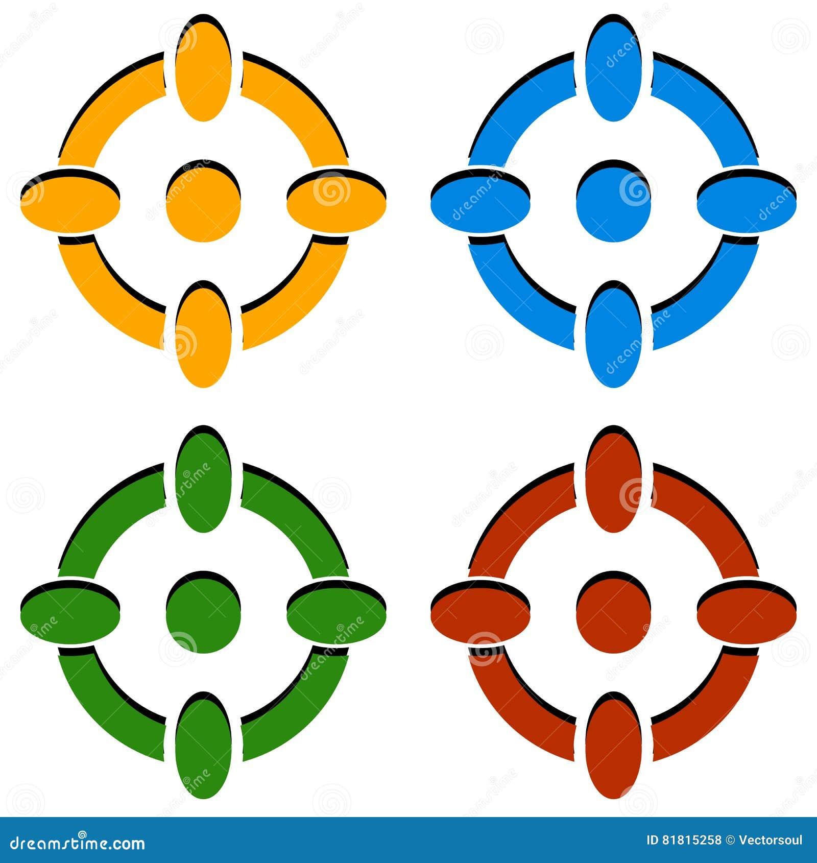 Crosshair/de pictogrammen van het van het doelteken/dradenkruis in kleur 4