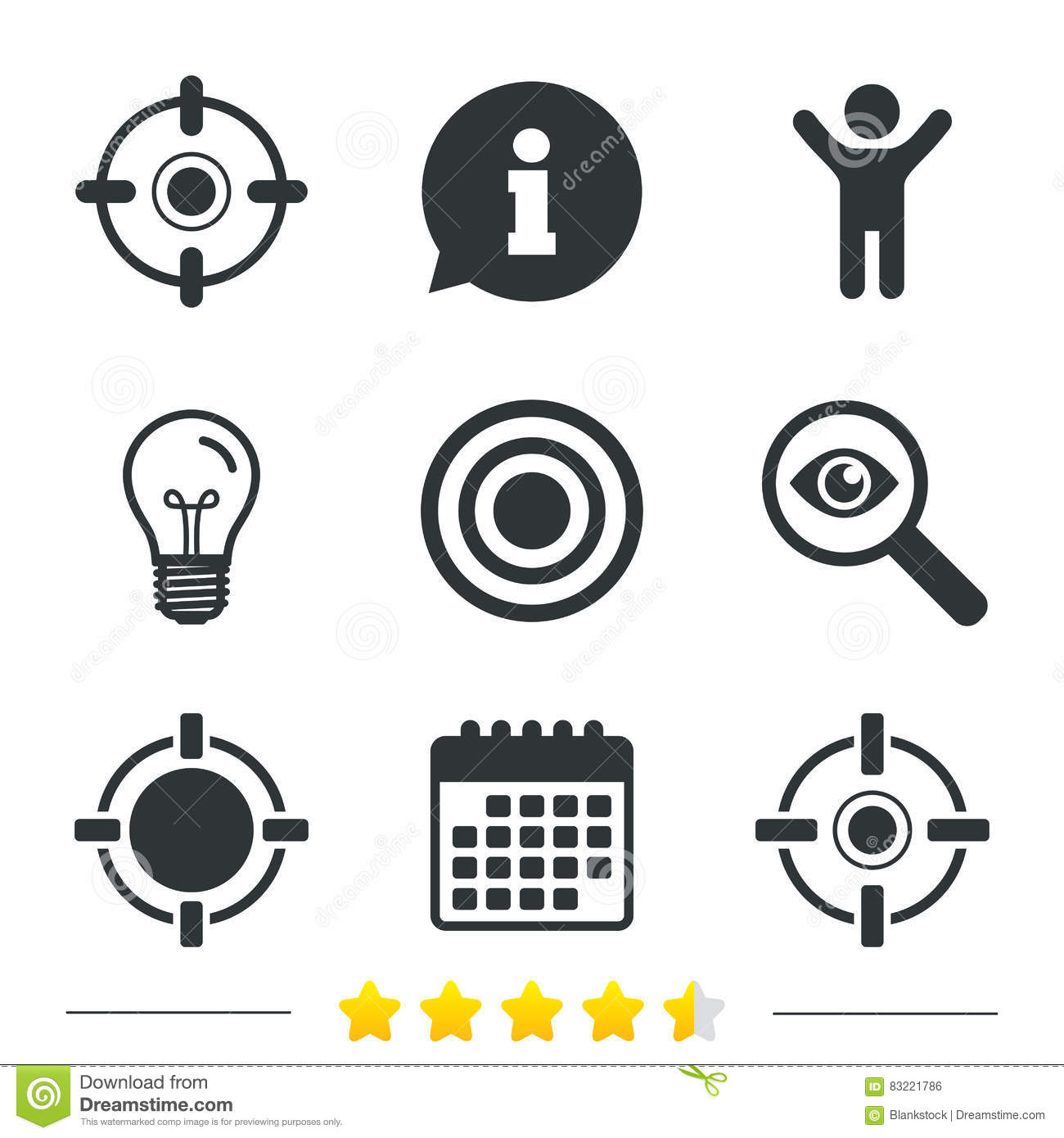 Crosshair Icons Target Aim Signs Symbols Stock Vector