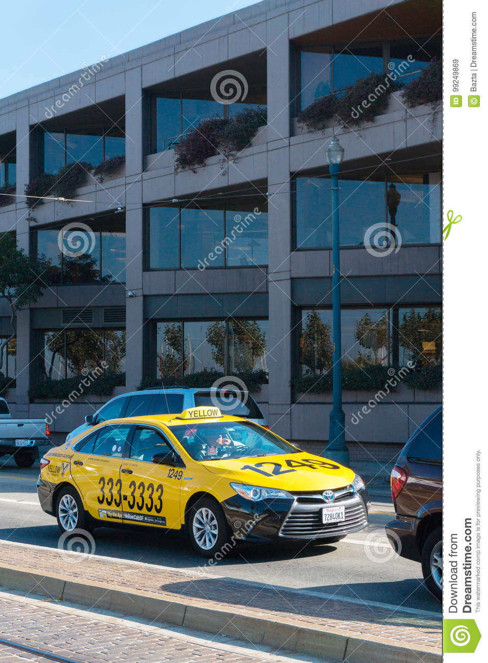 Taxi On The Embarcadero Street In San Francisco  Traffic On