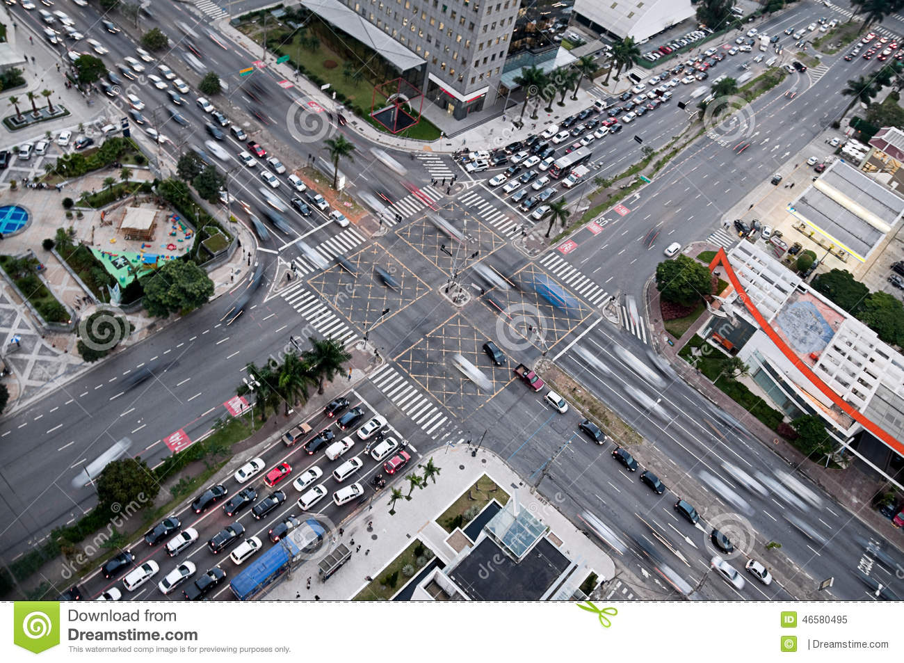 Crossroads And Traffic At Busy Junction South America