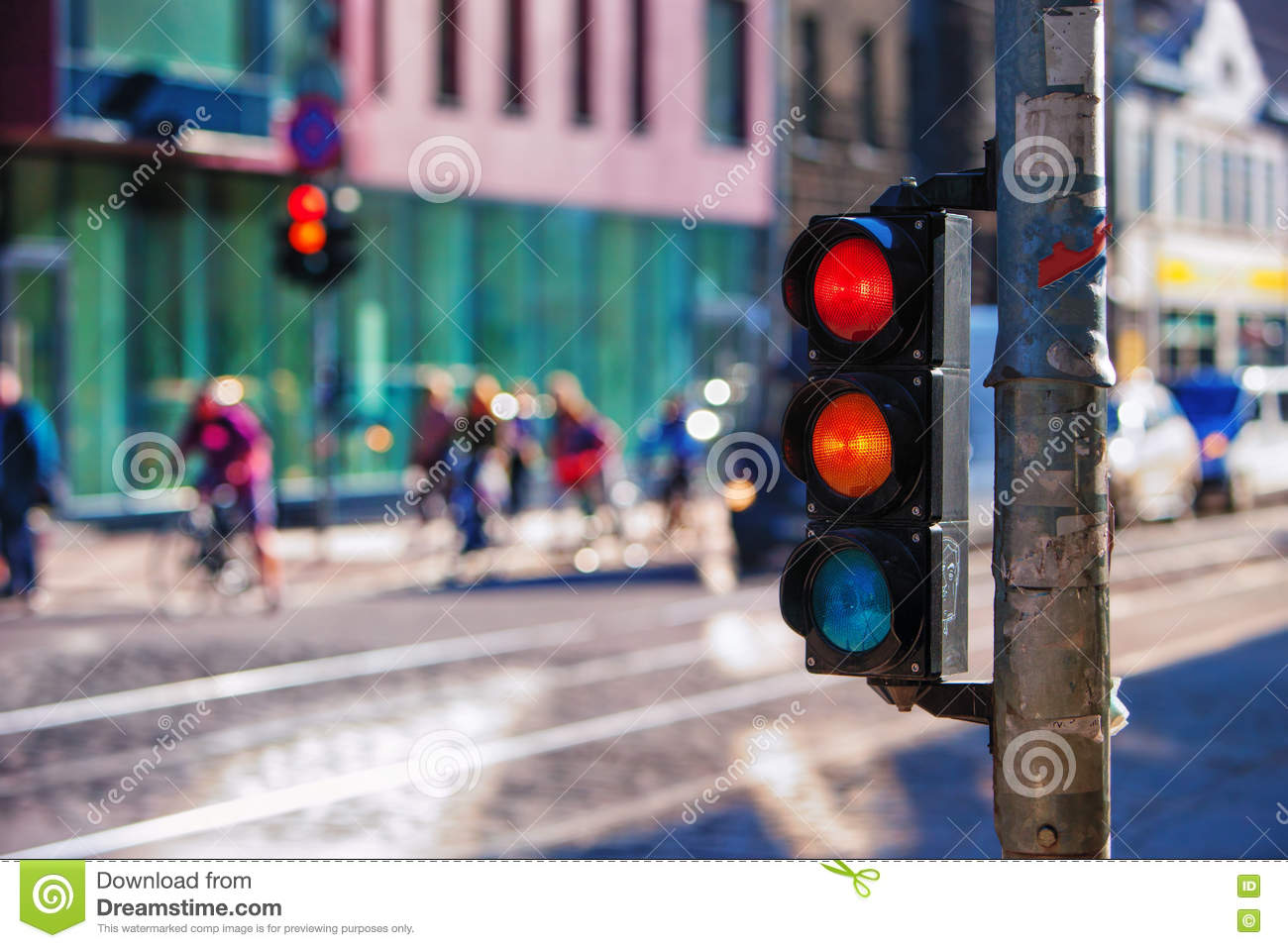 Crossroads with traffic lights in the city. Riga