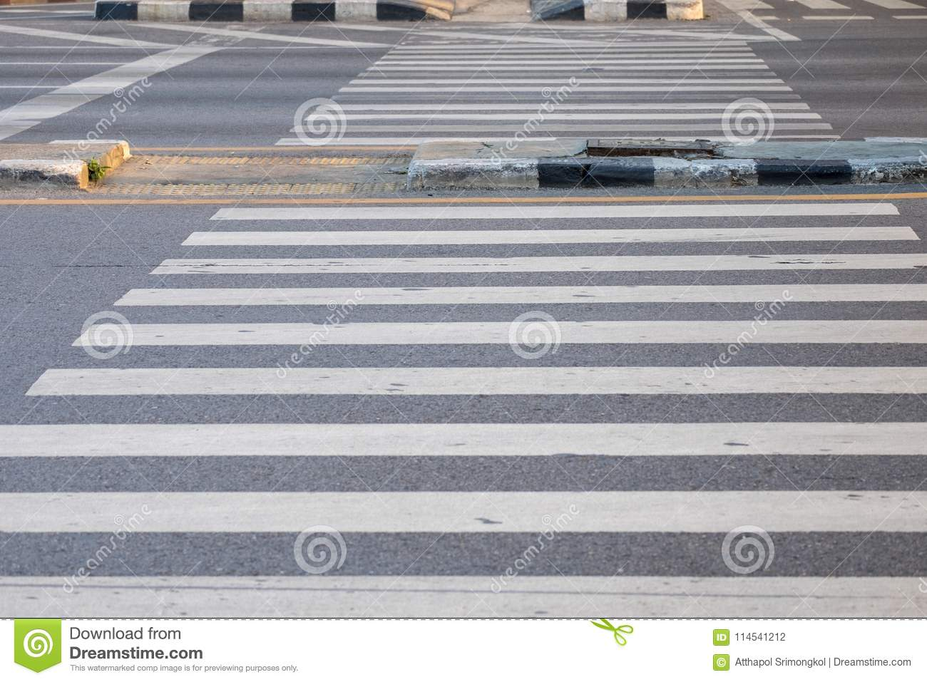 Crosswalk for walking across the street at the intersection