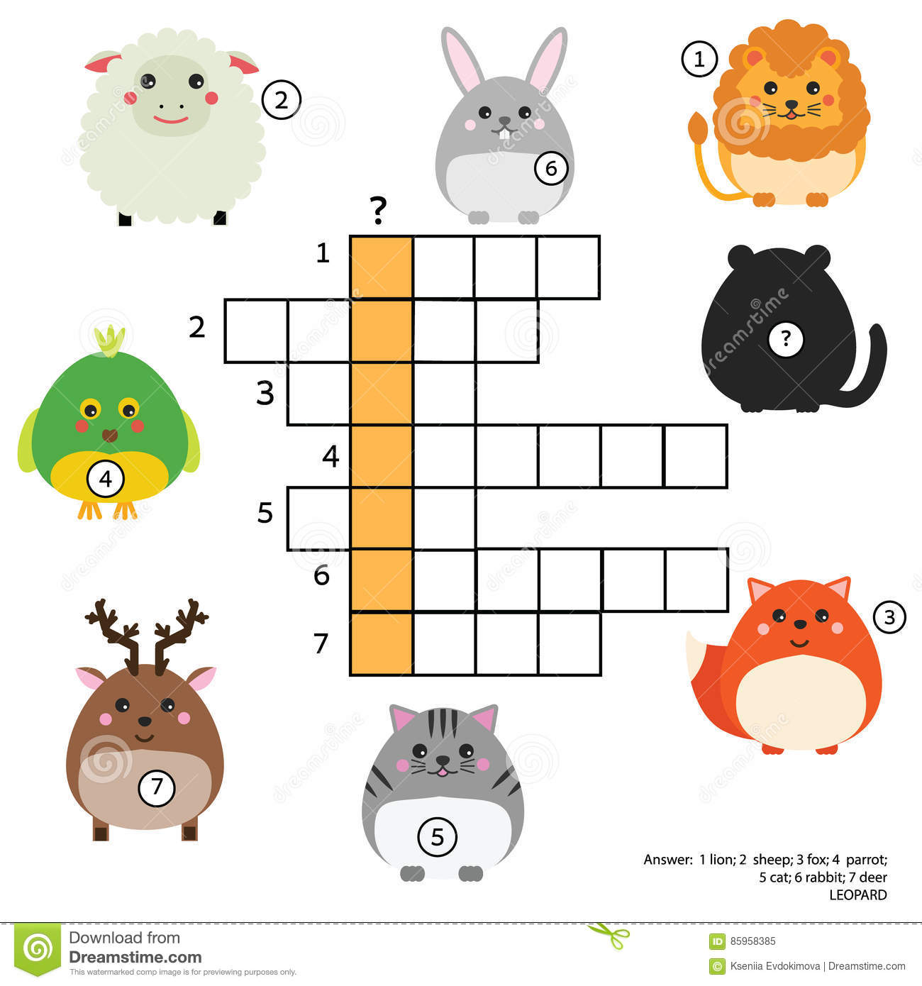 Download Crossword Educational Children Game With Answer Animals Theme Learning Vocabulary Stock Vector