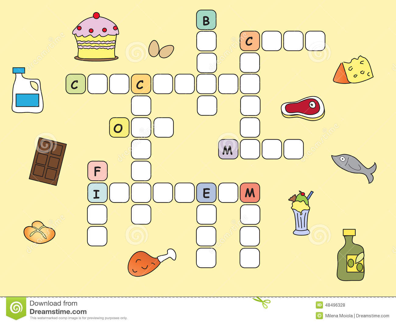 Crossword Game For Children Easy With Food Royalty Free Stock Photos