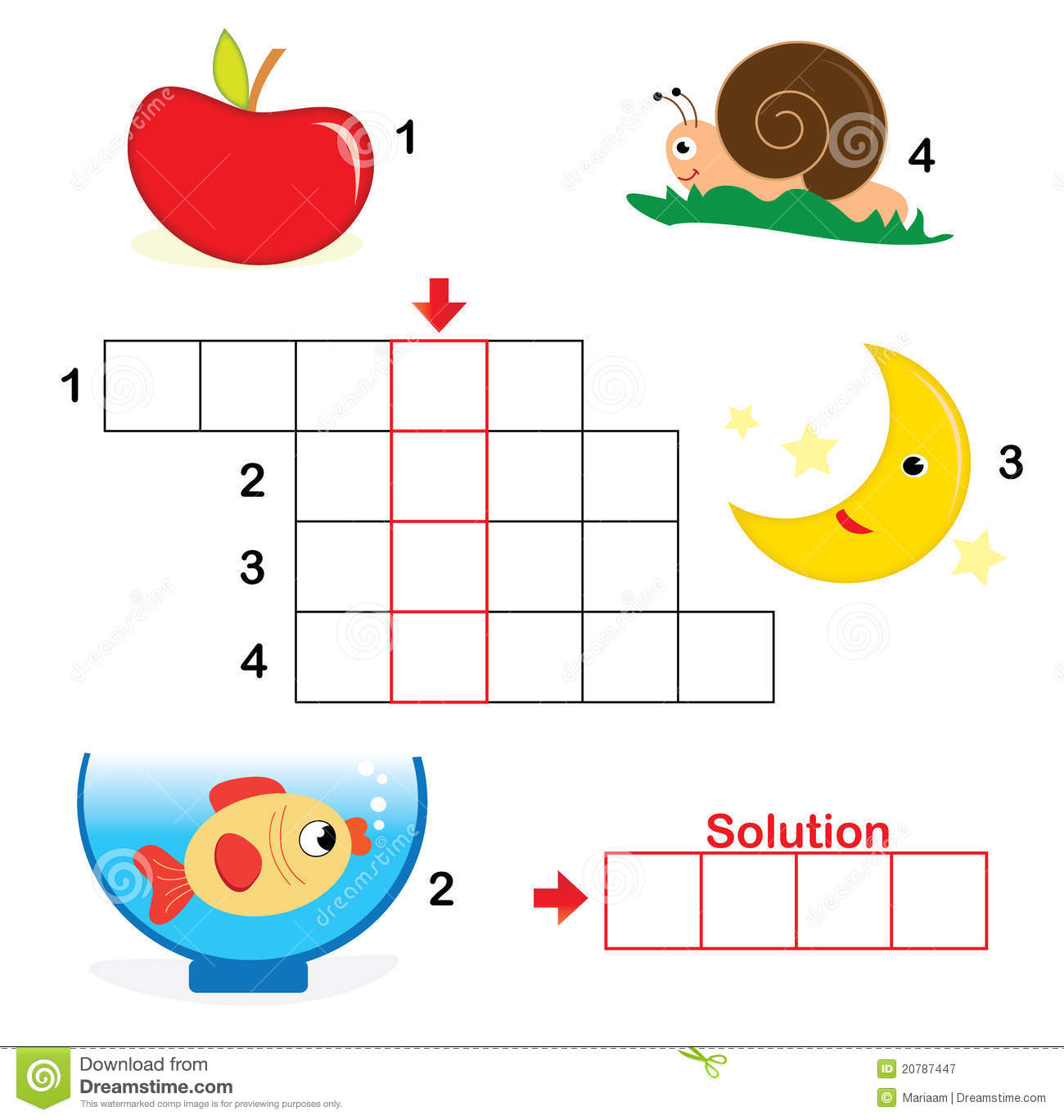 Crossword Puzzle For Children Part 1 Stock Vector Illustration Of