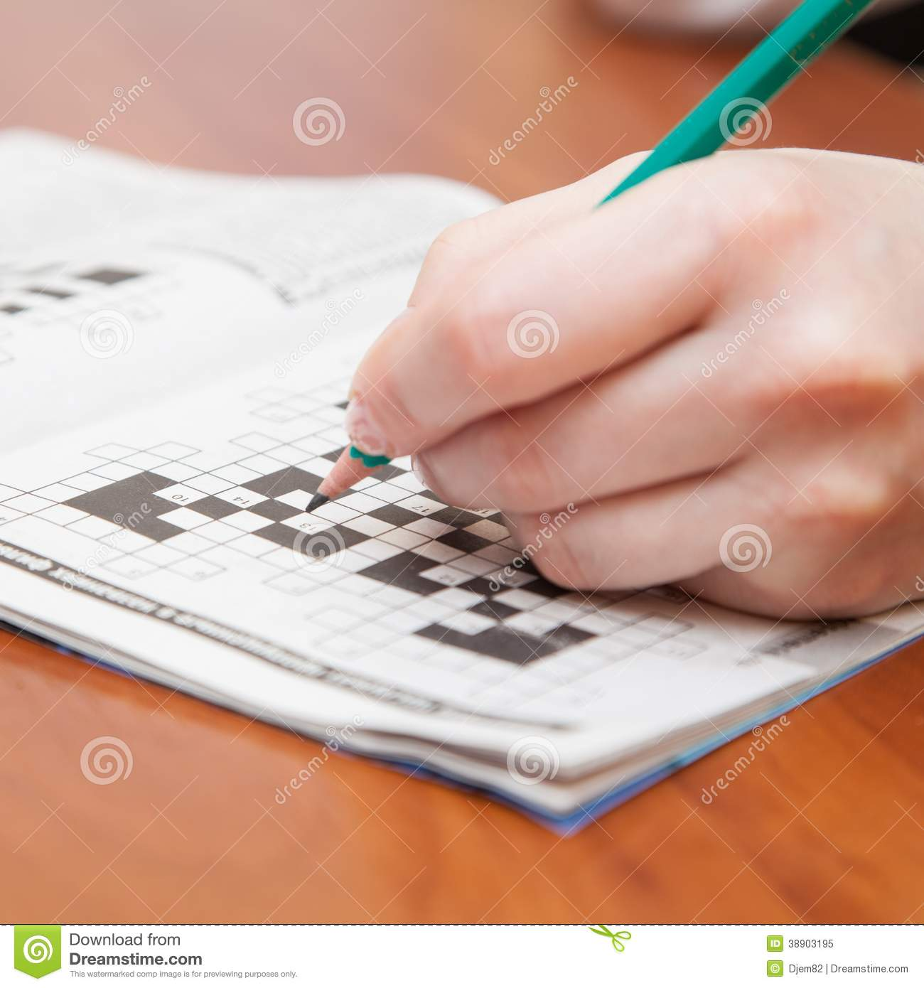 Crossword puzzle close-up stock image. Image of mental ...