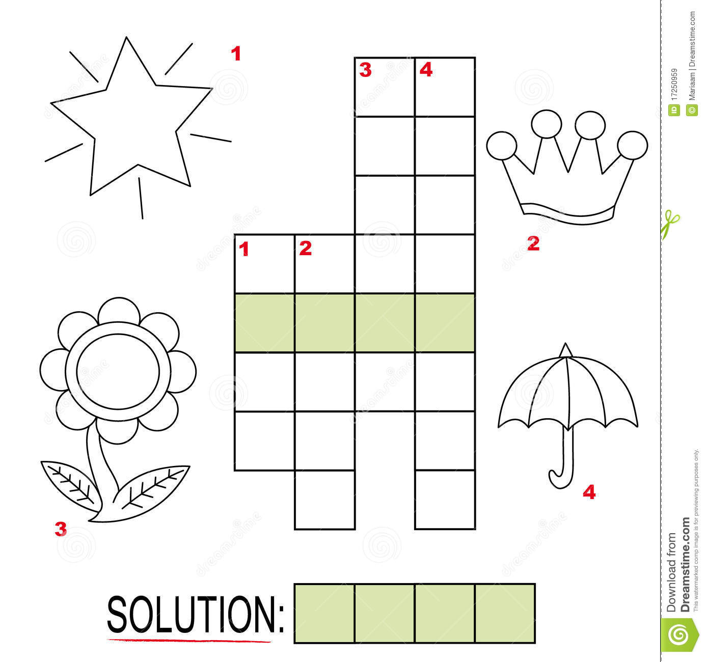 Crossword Puzzle For Kids Part 3 Stock Illustration Illustration