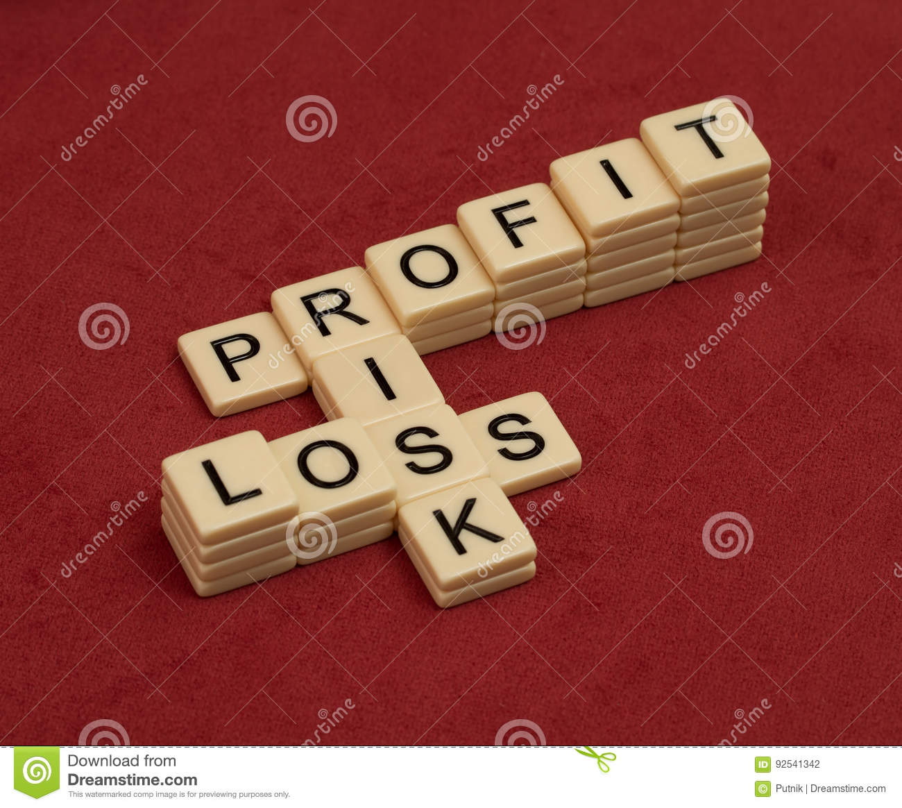 crossword puzzle with words risk profit and loss risk manageme