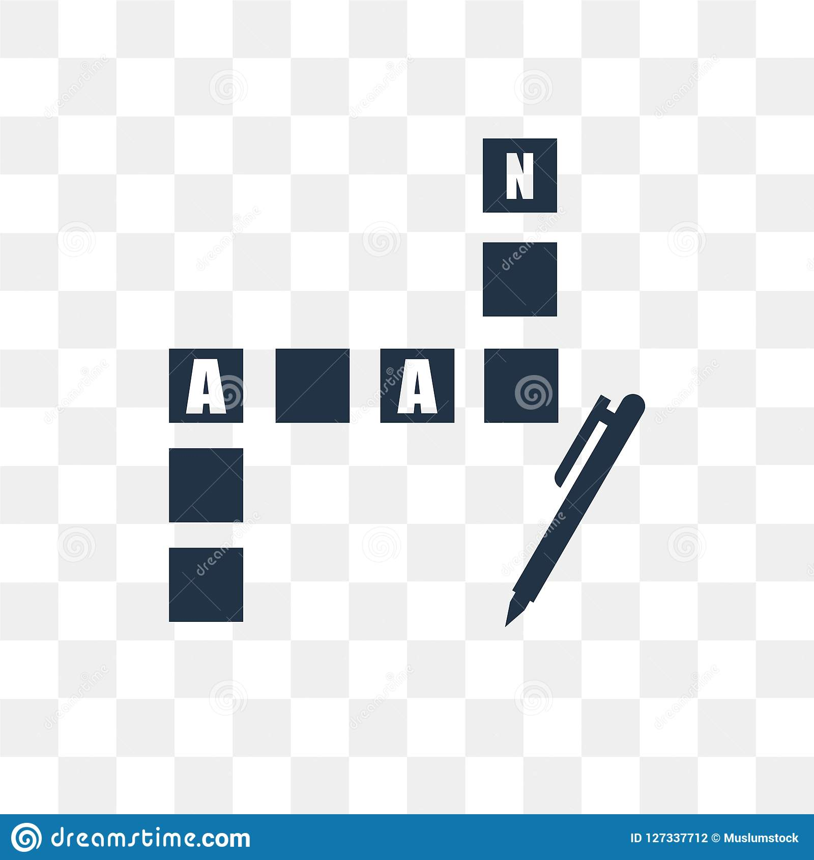 Crossword vector icon isolated on transparent background, Crossword transparency concept can be used web and mobile