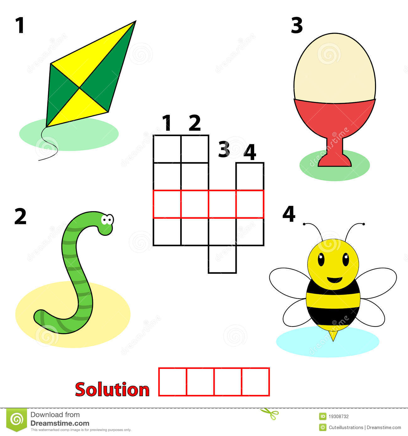 Crossword Words Game For Children Stock Photography - Image: 19308732