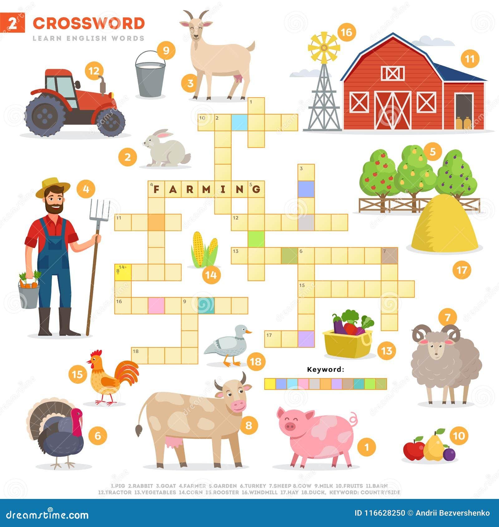 Crossword z ogromnym setem ilustracje i słowem kluczowym w wektorowym płaskim projekcie odizolowywającym na białym tle Crossword