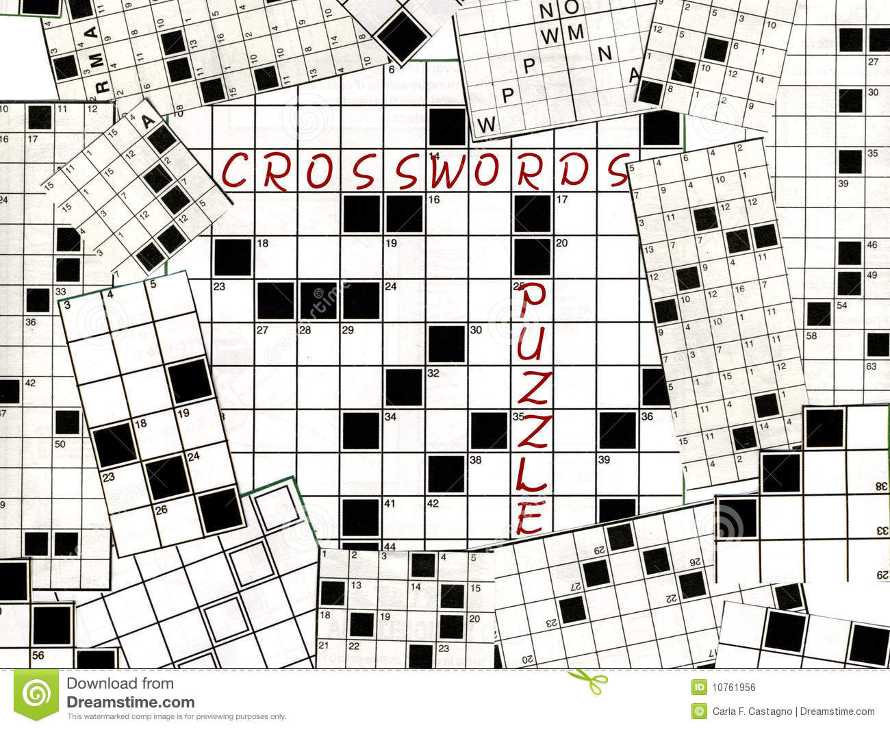 Crosswords Puzzle Collage Royalty Free Stock Image - Image: 10761956