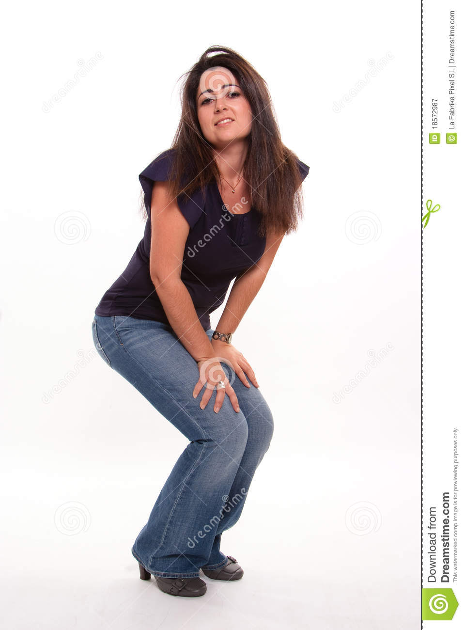 Pretty Girl Crouching Stock Photo - Download Image Now