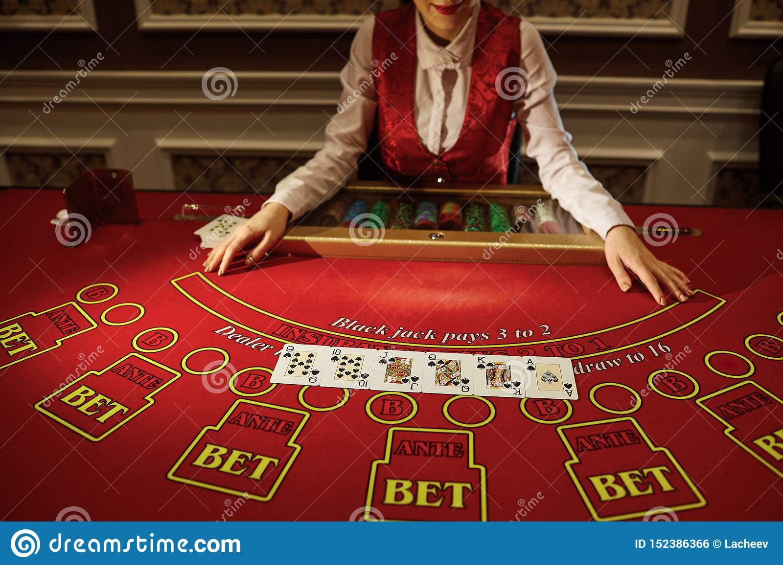 The Croupier In The Casino Does A Shuffle Of Cards Stock Photo Image Of Professional Hands 152386366