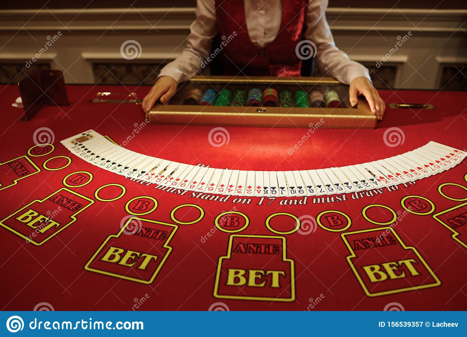 The Croupier In The Casino Does A Shuffle Of Cards Stock Image Image Of Background Game 156539357